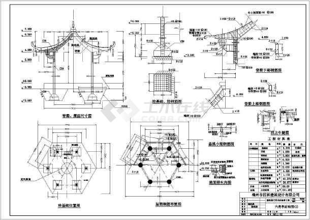 六角亭结构图:   内容包含:平面图,立面图,剖面图,宝顶详图,基础