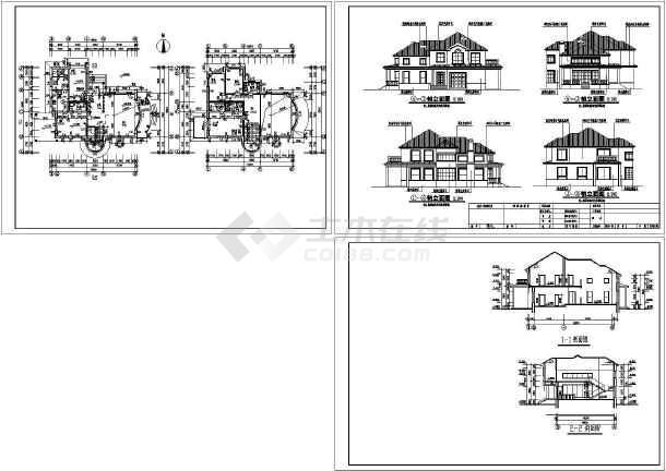 本资料为杭州某别墅e8施工建筑设计cad图纸,共3张资料内容包括轴立面