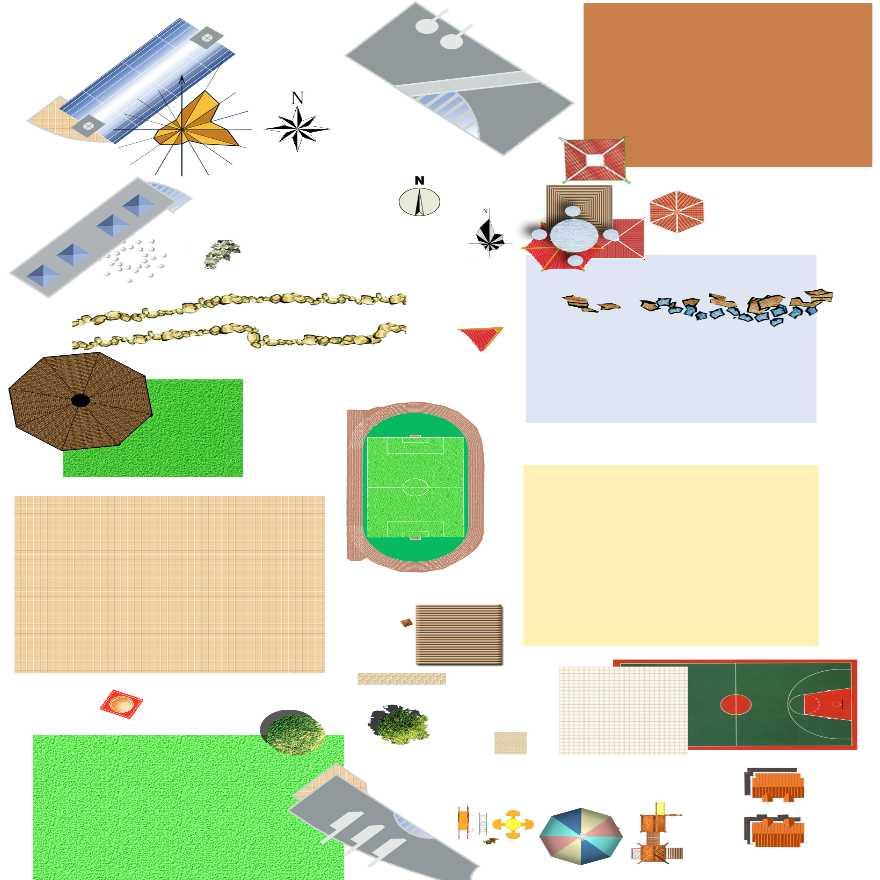 园林景观平面图素材——亭,汀步,球场,滑梯,铺装,植物