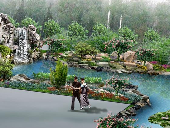 古锐园林工作室专业制作园林景观效果图:假山,人工湖,绿化,别墅庭院