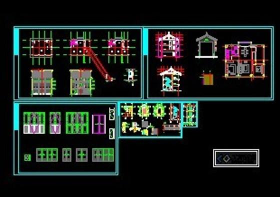 一套完整的仿古商业街建筑施工图