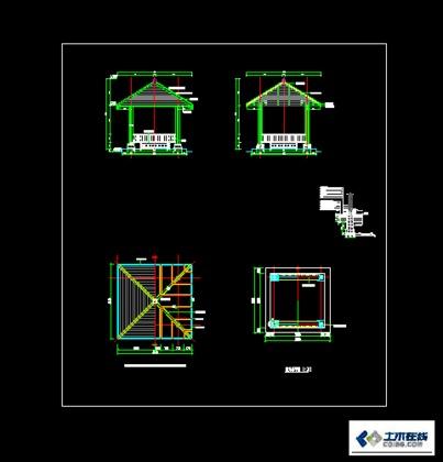 结构设计图 挡墙栈道设计图  某小区防腐木凉亭,平面,立面,剖面,节点