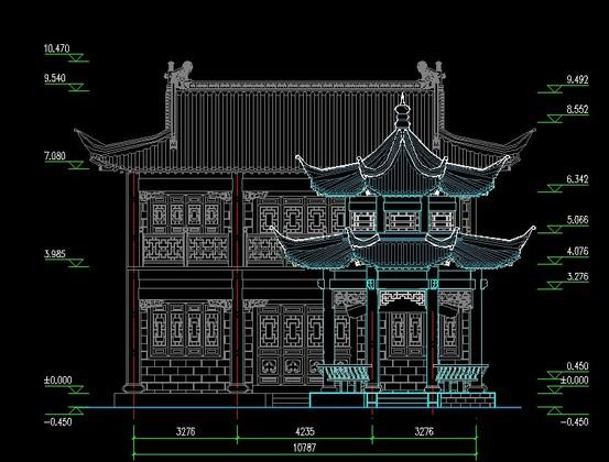 仿古建筑立面平面图