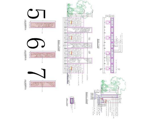 景观膜结构设计图 挡墙栈道设计图  景墙29-欧式景墙,有结构基础做法