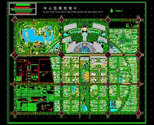 某城市中心区规划总平面设计方案图