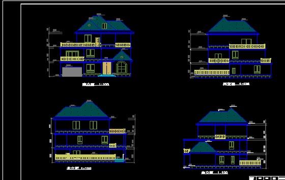 别墅设计平面图,立面图,剖面图,屋顶图