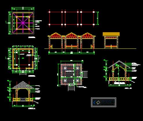 某中学园林设计部分(连廊,四角亭)含结构施工图 【万宁】城市景苑景观