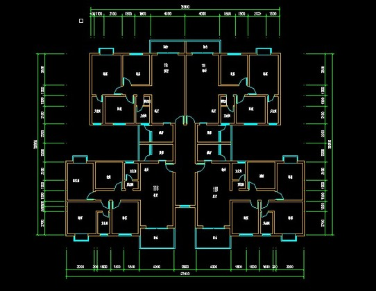 底框结构一梯四户 25x28m