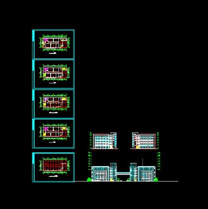 欧式办公楼建筑施工图  某五层办公楼建筑图,框架结构,设空中连廊连