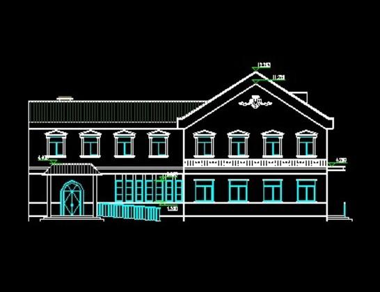 住宅单体平面,立面,剖面图 其他配套公建及小品  两层欧式小餐厅,麻雀