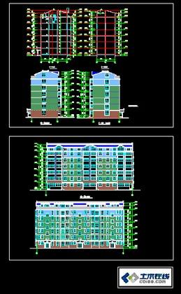 某小区18层高层住宅给排水平面图系统图  多层住宅建筑立面图,欢迎