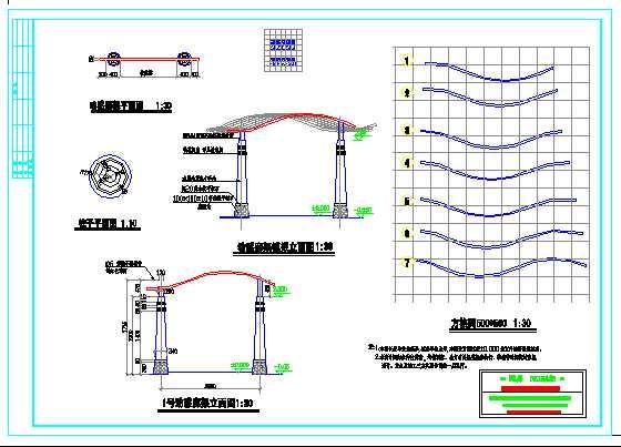动感廊架立面图,平面图,柱子平面图.