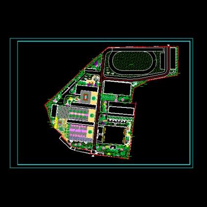 图校园花坛设计平面图中小学建筑平面图住宅景观设计