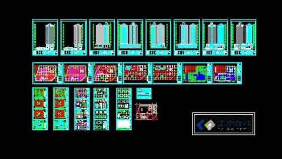 建筑成套高层住宅建筑图图纸分类 高清图片