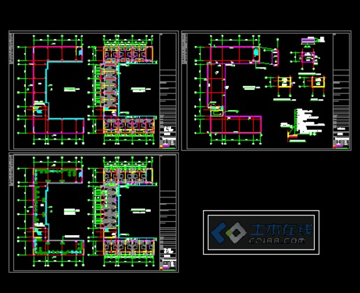 11 小高层一梯三住宅平面图(115—137平方米) 某32层住宅楼大地下室