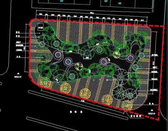 长方形公园手绘平面
