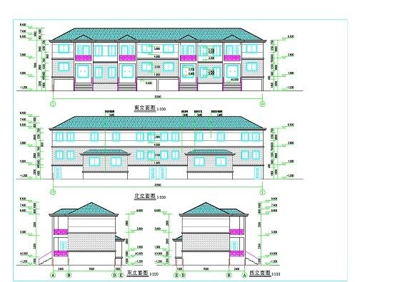 建筑住宅单体平,立面图图纸分类
