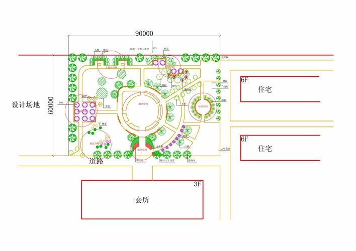 校园植物造景平面图 植物配置与造景 植物造景图 手绘-园林植物造景