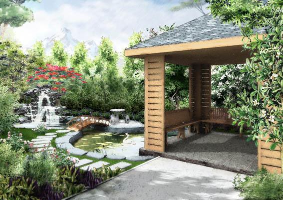 园林景观庭院效果图