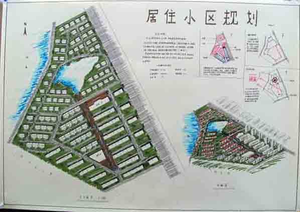 居住小区手绘,内部设有多层区,小高层区,及别墅区