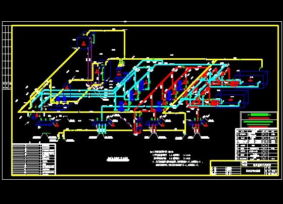 空调系统原理图,热水系统原理图,地源热泵系统; 工艺管道图纸船上管道