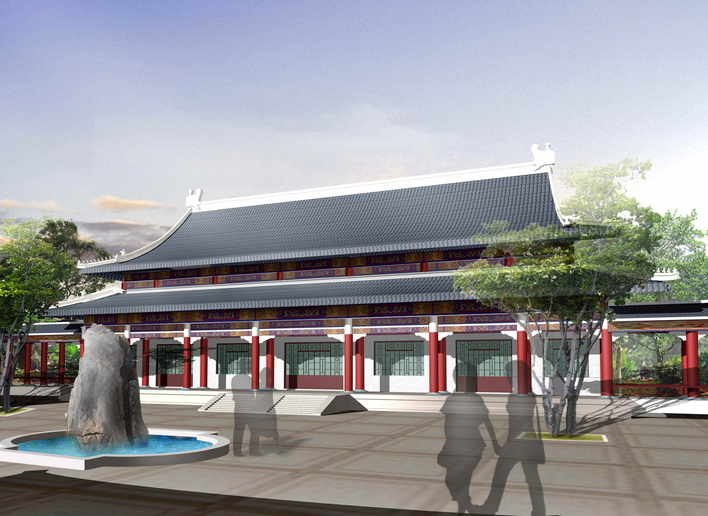 中国古建筑效果图_