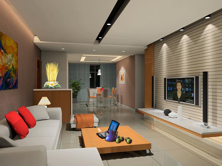 整套家装施工图带一张客厅效果图 复式装修带客厅效果图 vr渲染的客厅图片