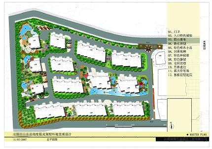 此图为某度假式别墅景观规划设计,附上总平面设计方案/鸟瞰/入口假山