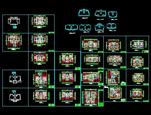 设计 陕西某小区高层住宅建筑总体规划及户型图 60套精品户型图集一梯