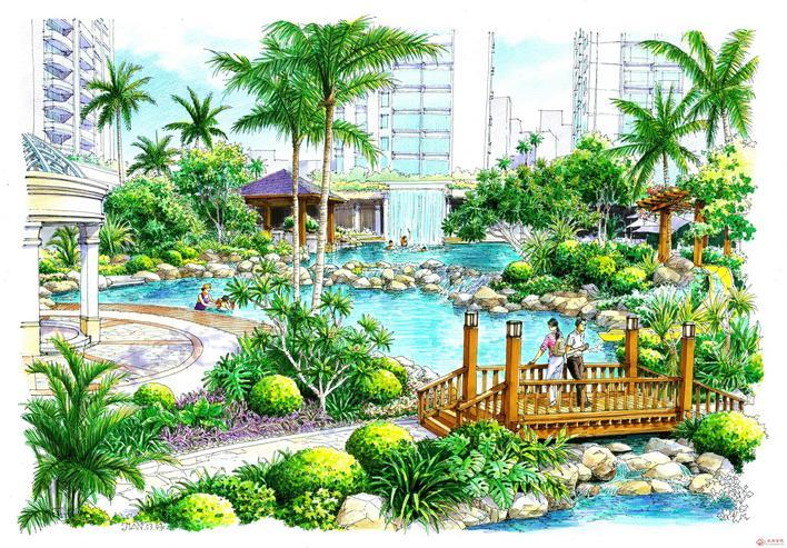 图纸 园林设计图  景观图   手绘景观效果图  相关专题:景观cad图