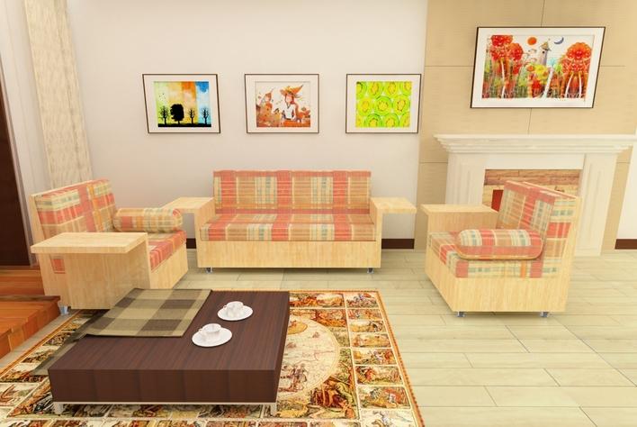 ppt内有沙发的三视图/透视图/各个面的效果及说明