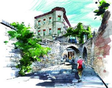 欧式风格小庭院设计(cad 手绘平面效果全套) 欧式古典样板别墅施工图