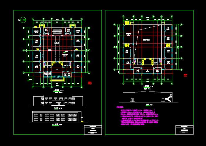 二层框架结构,建筑面积2433m2,天井式布局.