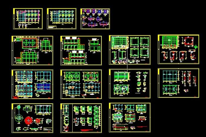 化工厂冷却塔土木CAD图纸_CO全套v土木(原网cad幼儿园图片