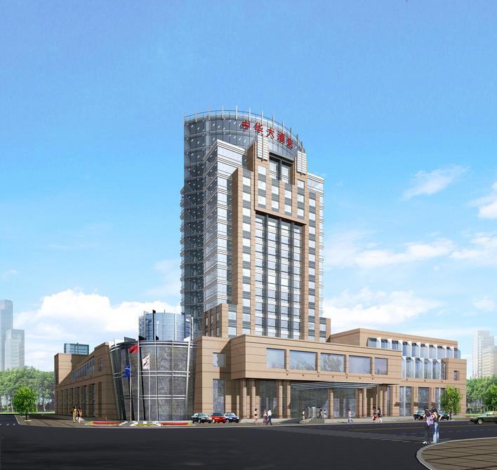 某地雅韵阁大酒店的施工图与效果图 陕西某大酒店多层钢框架结构改造