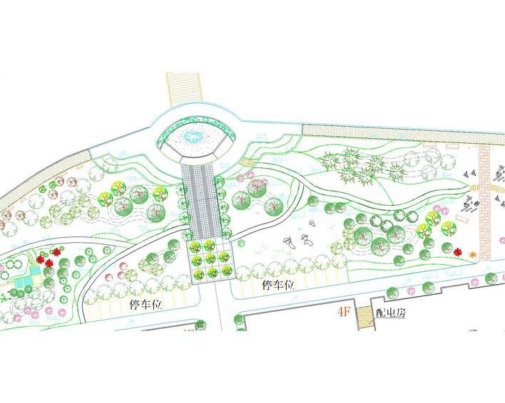 本图纸为住宅外面的环境设计图纸,包含总平面绿化规划说明图纸,植物