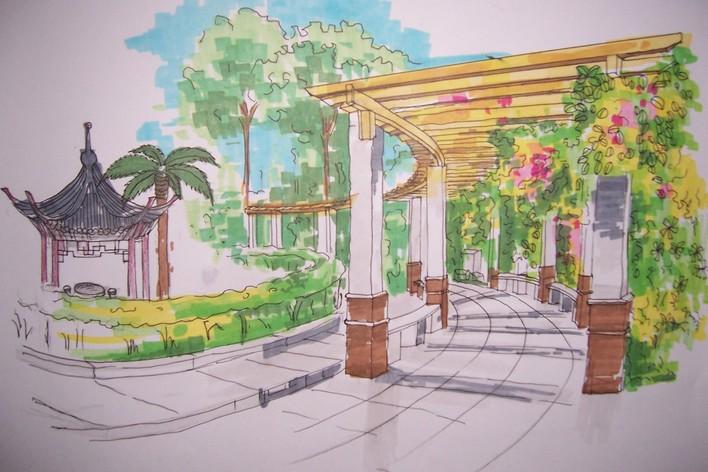 花架效果图阳台花架效果图餐厅效果图园林效果图亭子