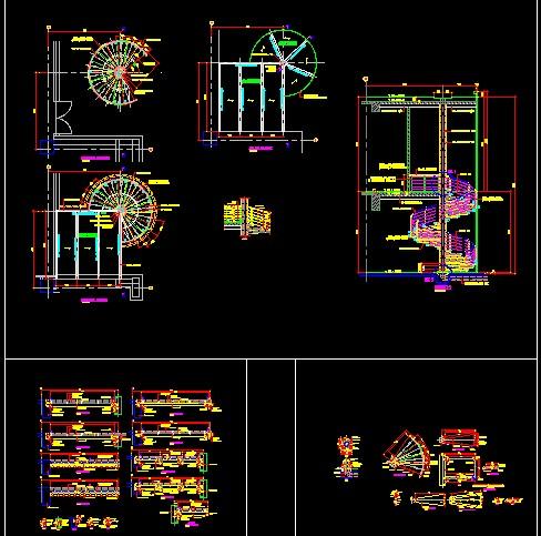 下宽上窄140度旋转楼梯-22踏三维立体图 双心型旋转楼梯-autocad三维