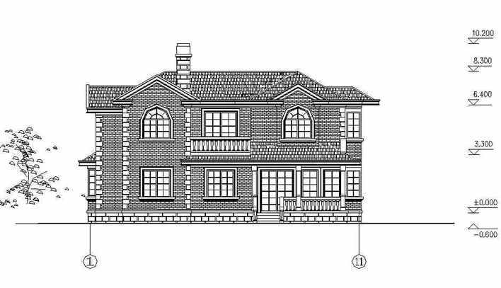 土木欧式别墅建筑设计_CO图纸v土木(原网易土20cm二层口画法金包图片