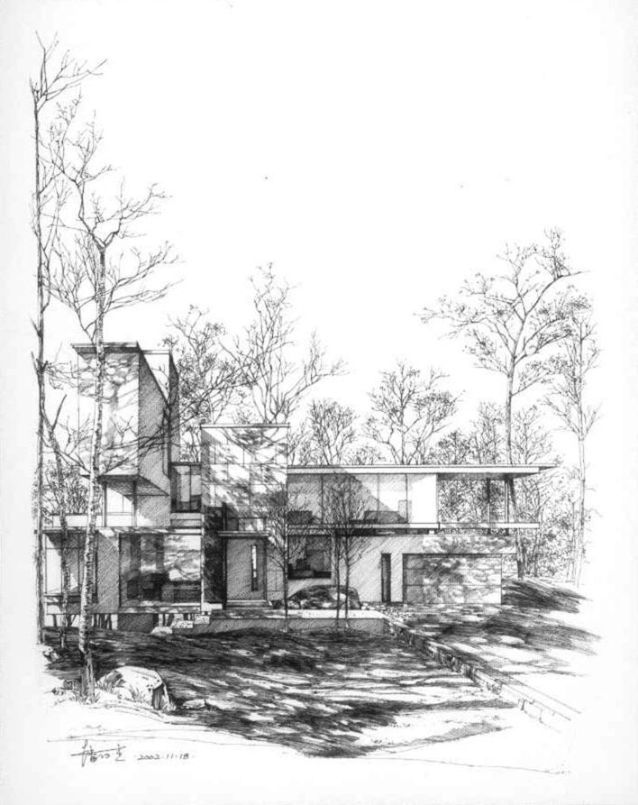 手绘总图 手绘立面 手绘亭子 园林手绘 景观手绘  所属分类:建筑图纸