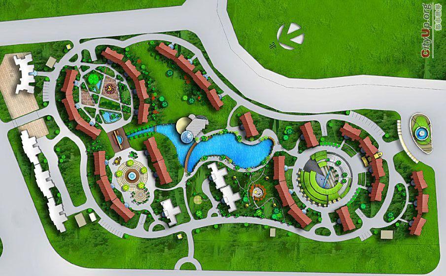 小区规划平面图及鸟瞰图