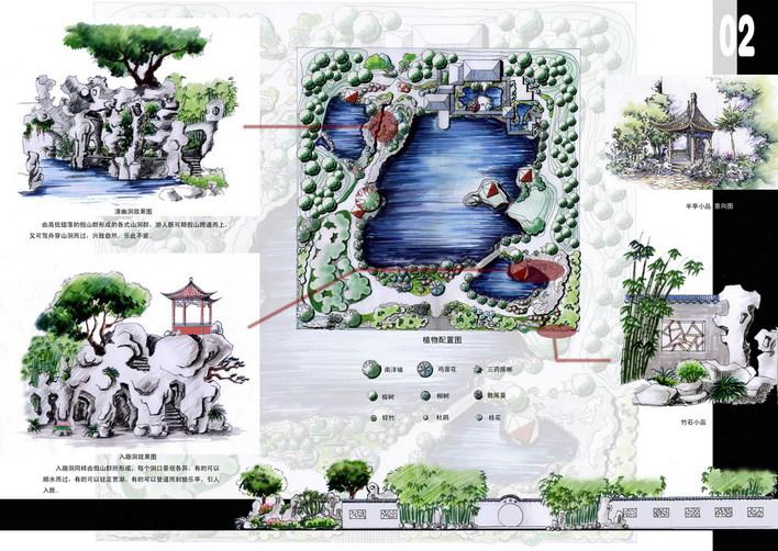 图纸 园林设计图 景观规划设计 庭院景观规划设计图 中式景观小品规划