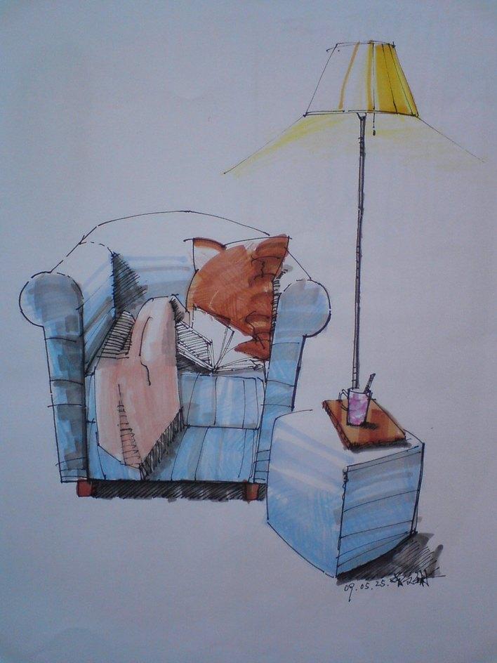 zip             单体家具马克笔手绘,沙发组合            所属分类