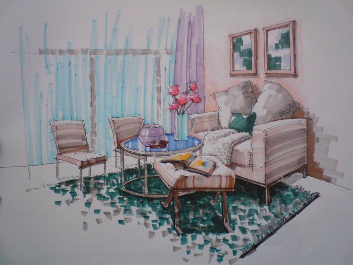 客厅马克笔手绘,地毯,窗帘