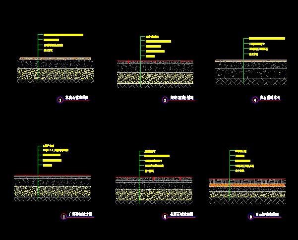 6种CAD样式铺装线条cad地面详图改变怎样图片