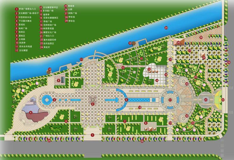 一个广场套图,里面包含有总平面施工图,总平面效果图,总平面俯视图,局图片
