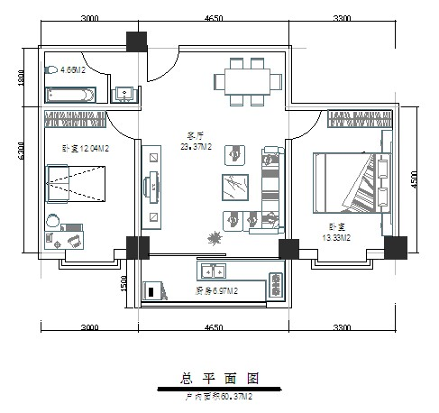 多层住宅cad户型图4套分享 廉租房,公租房经典户型图1梯3/4,40-50平米