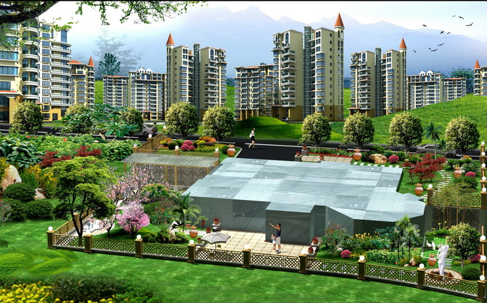 花园设计效果图 花园洋房效果图 屋顶花园设计效果图 屋顶花园装修