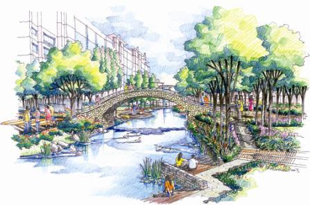 园林设计图  小桥
