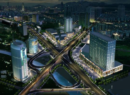 设计效果图   郑州城市景观大道规划设计效果图   园林设计高清图片